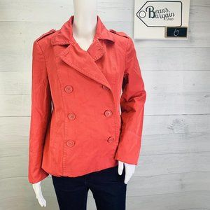 Ann Taylor LOFT Pea Coat Red Double Breasted